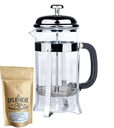 Nessential Coffee French Press Coffee Maker – Fresh Roast, Cold Brew and Tea – Single Cup or Whole Pot – Includes Organic Spearhead Coffee Beans and Extra Ultra-Fine Filters