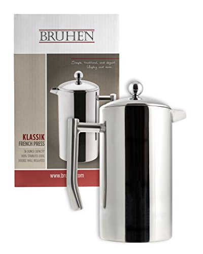 Large Stainless Steel French Press Coffee Maker – Double Wall Tea Or Coffee Press – 36 Oz (1 Liter) – With BONUS EXTRA Filter