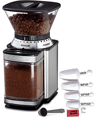 Paksh Novelty Automatic Burr Mill Grinder Bundled with Cloth and Peeler, Brushed Stainless Steel and Black